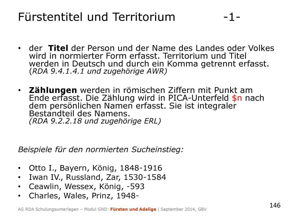 Fürstentitel und Territorium -1-