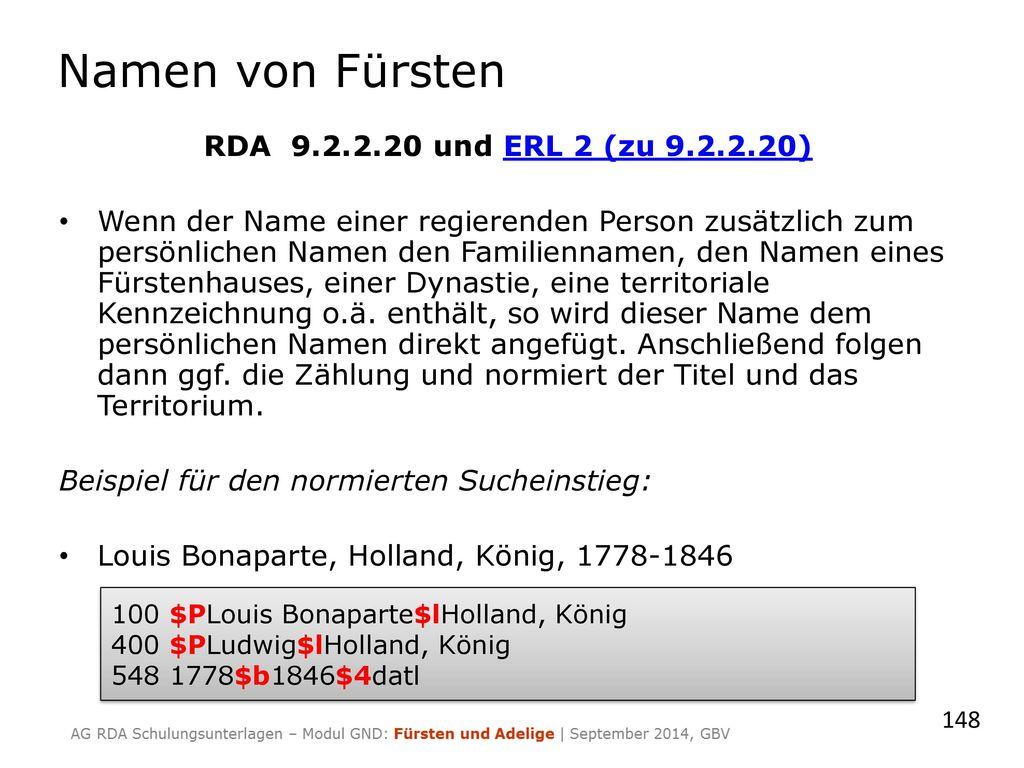 Namen von Fürsten RDA 9.2.2.20 und ERL 2 (zu 9.2.2.20)