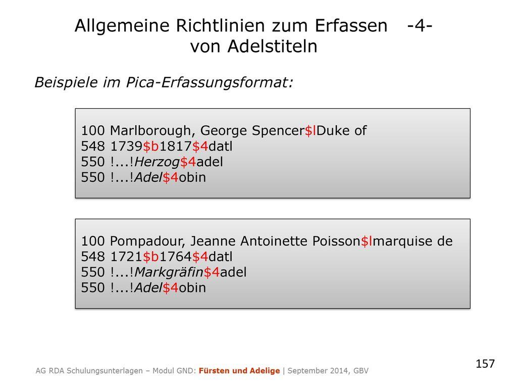 Beispiele im Pica-Erfassungsformat: