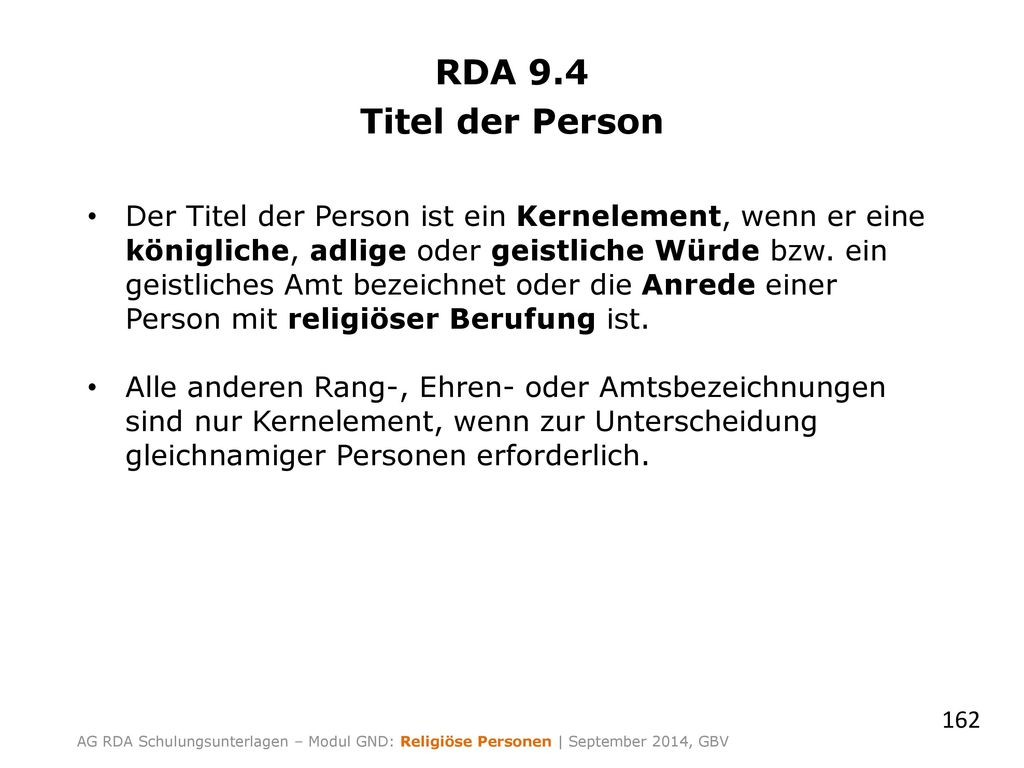 RDA 9.4 Titel der Person.