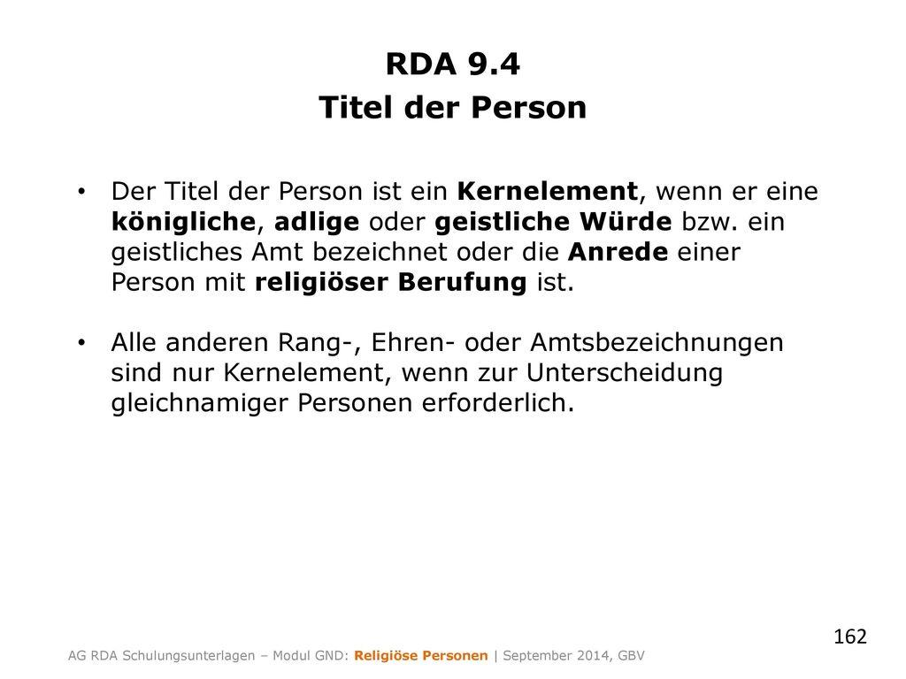 RDA 9.4 Titel der Person.