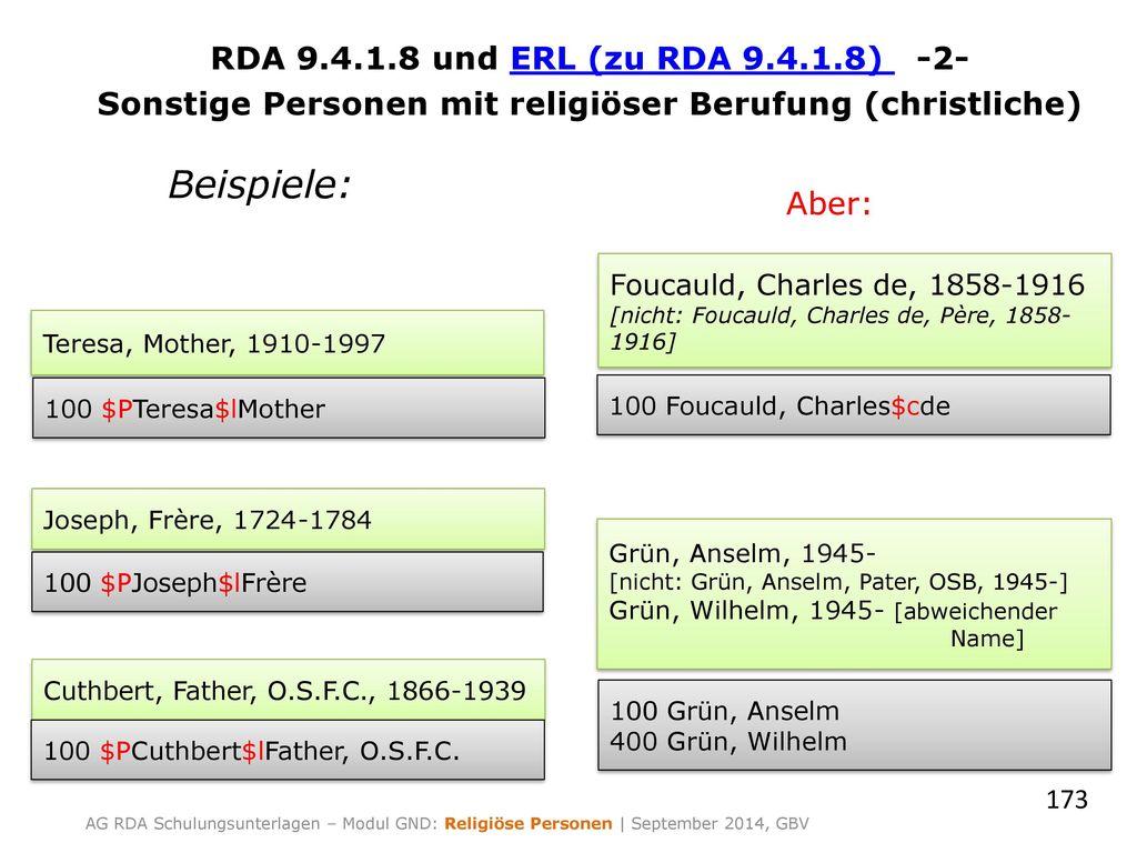 RDA 9.4.1.8 und ERL (zu RDA 9.4.1.8) -2- Sonstige Personen mit religiöser Berufung (christliche)