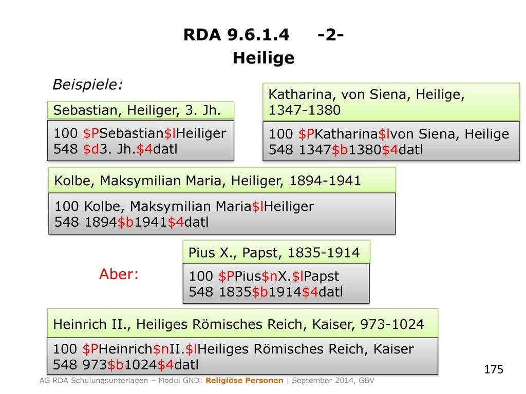 RDA 9.6.1.4 -2- Heilige Beispiele: Aber: