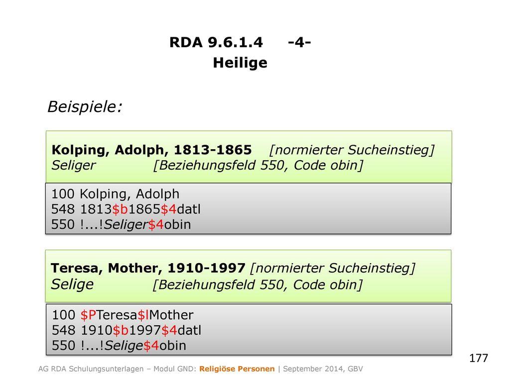 Beispiele: RDA 9.6.1.4 -4- Heilige