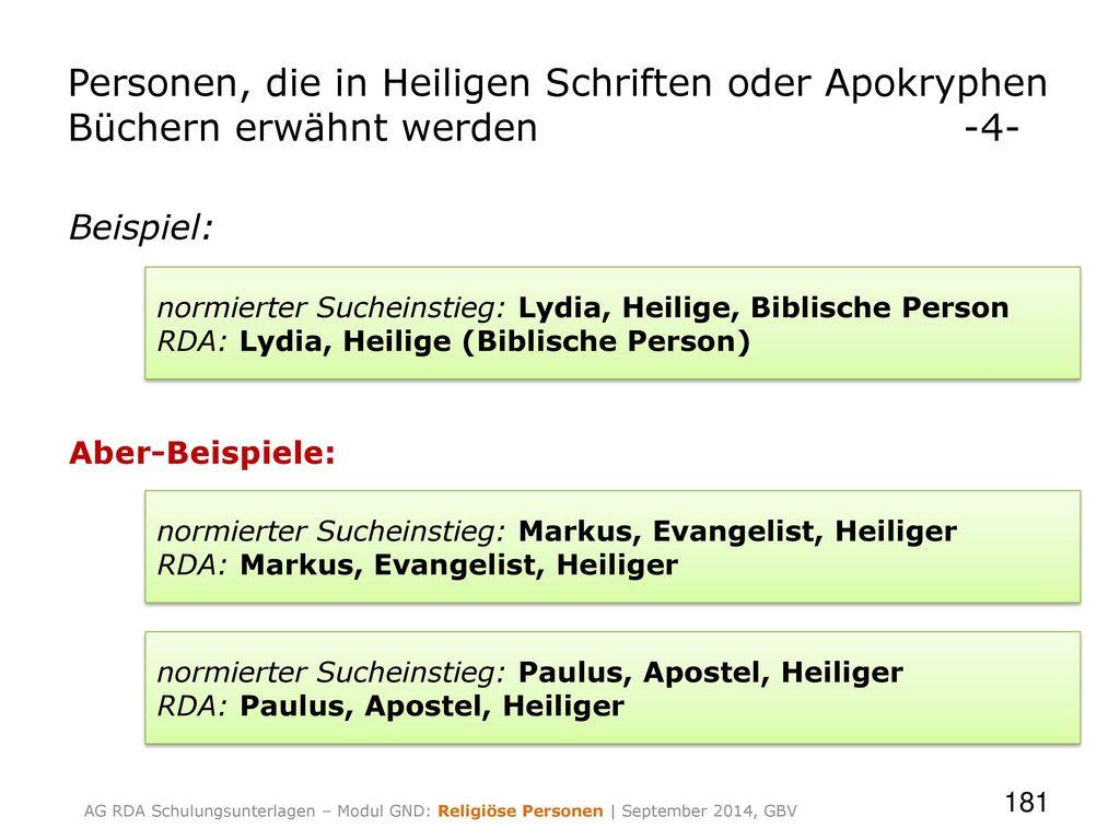 Personen, die in Heiligen Schriften oder Apokryphen Büchern erwähnt werden -4-