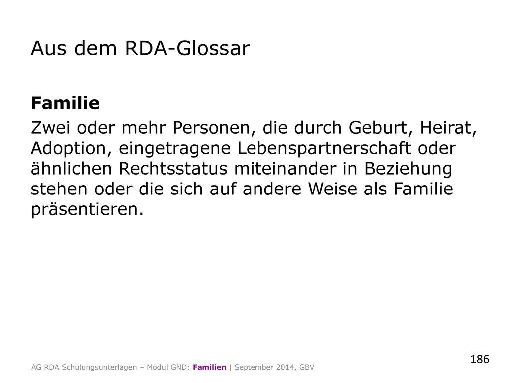 Aus dem RDA-Glossar