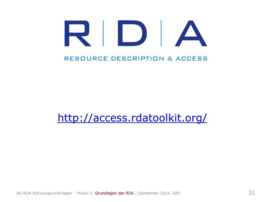 http://access.rdatoolkit.org/ 31 Toolkit zeigen und erläutern