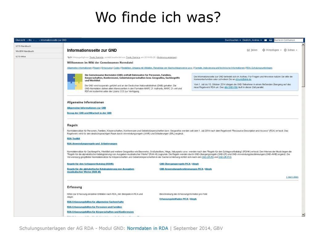 Wo finde ich was GND-Infoseite zeigen und erläutern