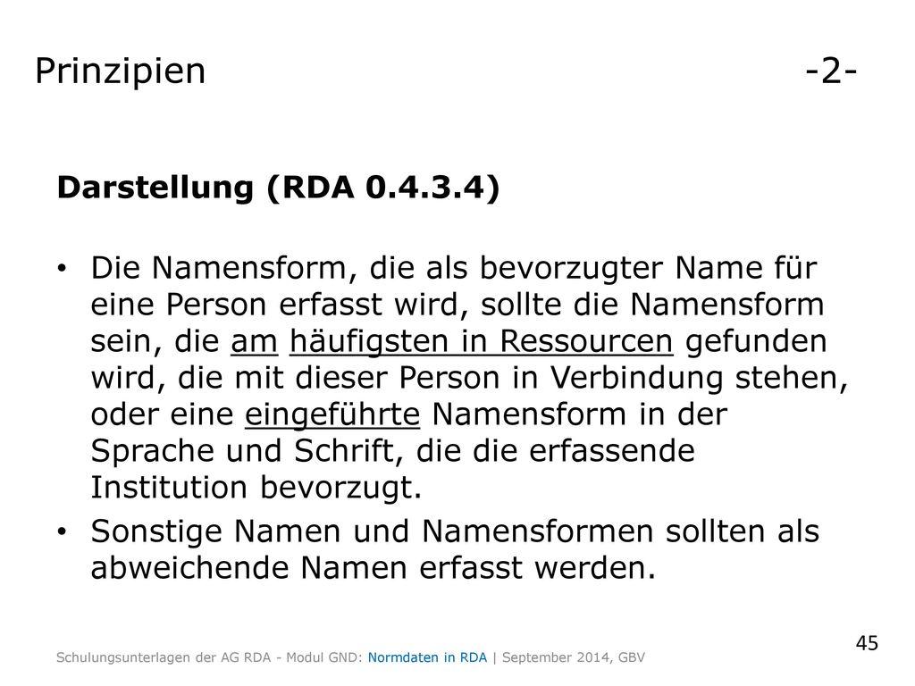 Prinzipien -2- Darstellung (RDA 0.4.3.4)