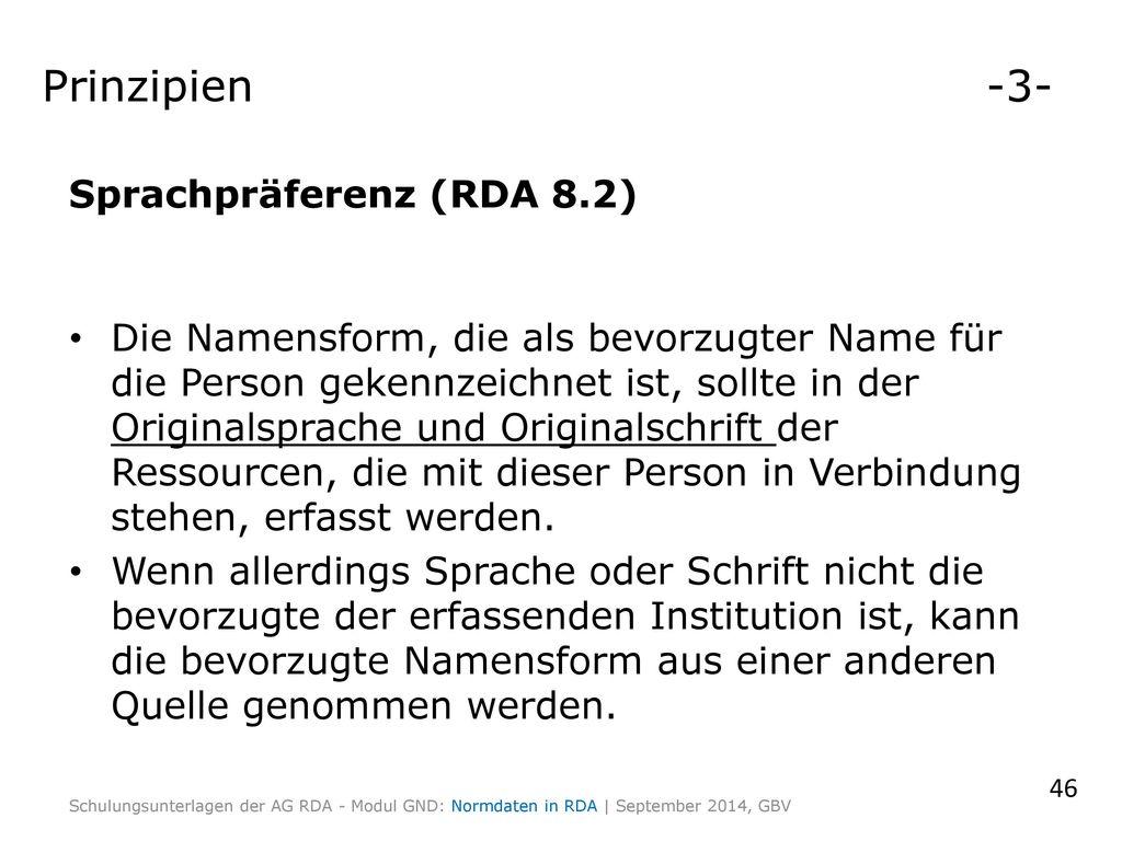 Prinzipien -3- Sprachpräferenz (RDA 8.2)