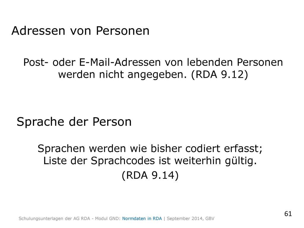 Adressen von Personen Sprache der Person