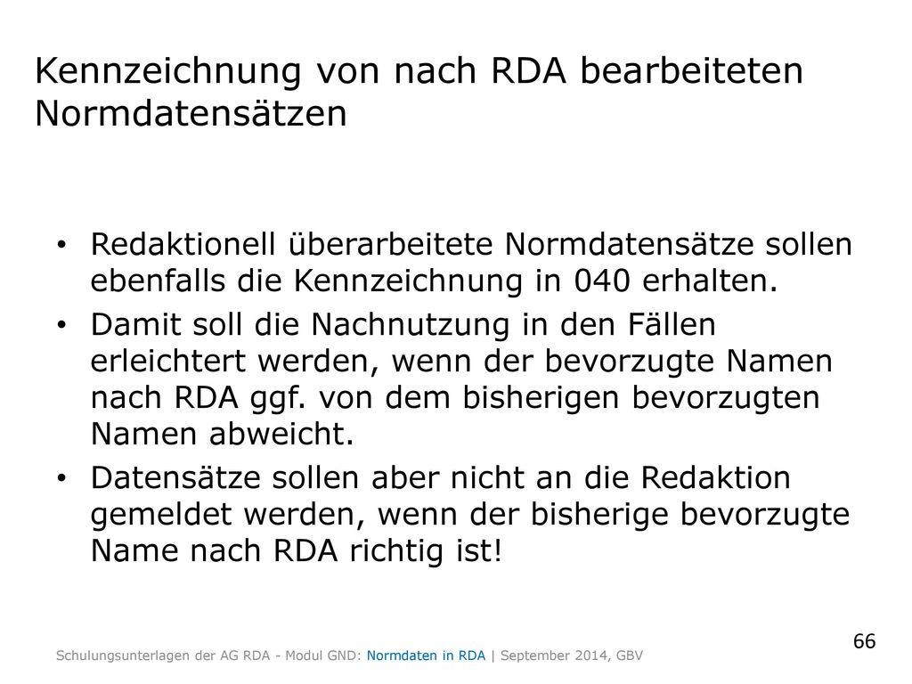 Kennzeichnung von nach RDA bearbeiteten Normdatensätzen