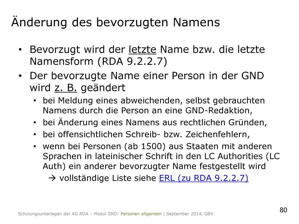 Änderung des bevorzugten Namens