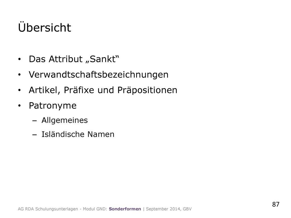 """Übersicht Das Attribut """"Sankt Verwandtschaftsbezeichnungen"""