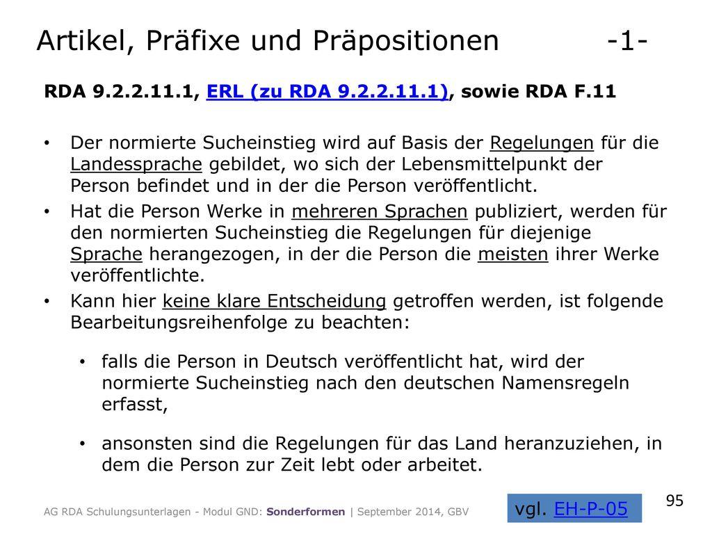 Artikel, Präfixe und Präpositionen -1-