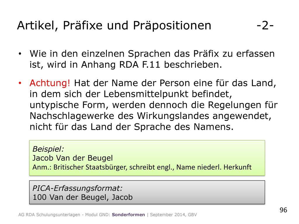 Artikel, Präfixe und Präpositionen -2-