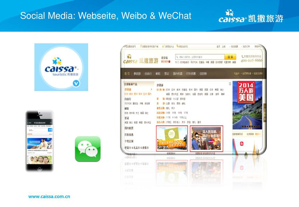 Social Media: Webseite, Weibo & WeChat