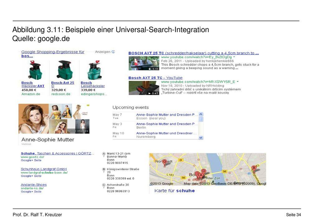 Abbildung 3.11: Beispiele einer Universal-Search-Integration Quelle: google.de