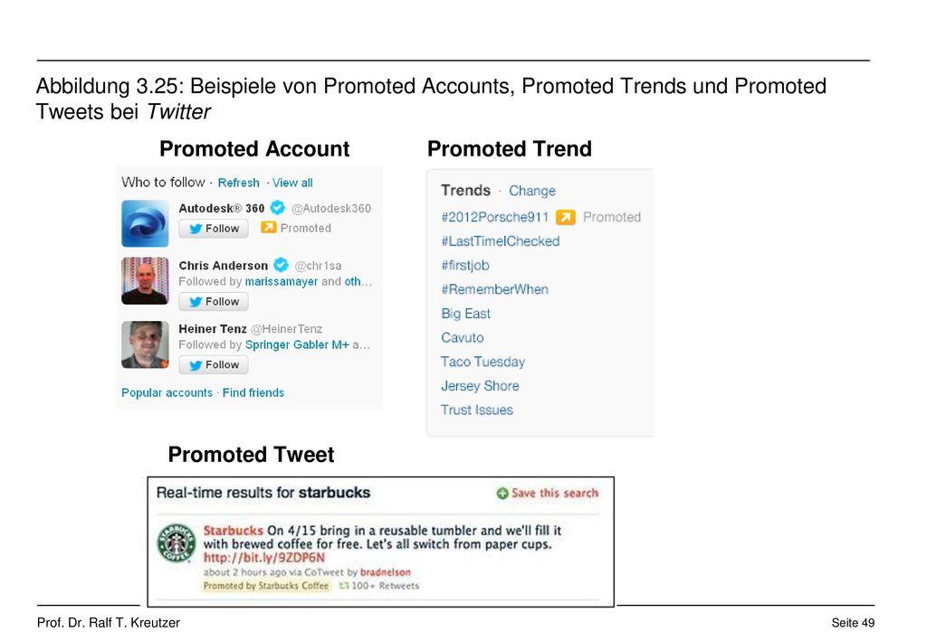 Abbildung 3.25: Beispiele von Promoted Accounts, Promoted Trends und Promoted Tweets bei Twitter