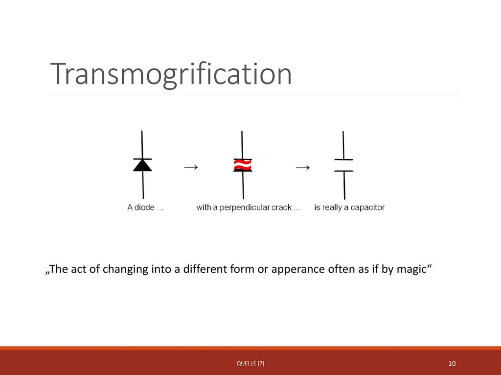 "Transmogrification ""The act of changing into a different form or apperance often as if by magic Quelle [7]"