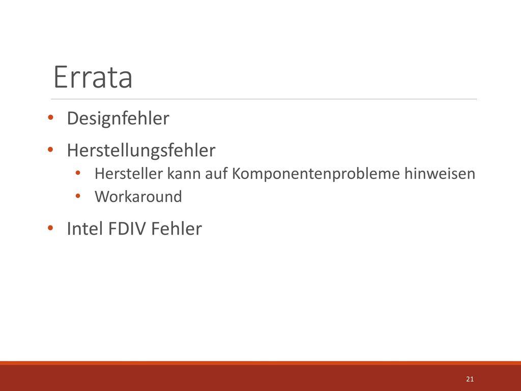 Errata Designfehler Herstellungsfehler Intel FDIV Fehler
