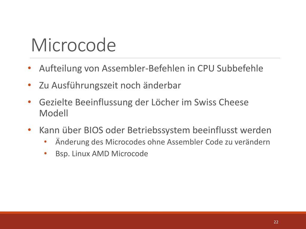 Microcode Aufteilung von Assembler-Befehlen in CPU Subbefehle