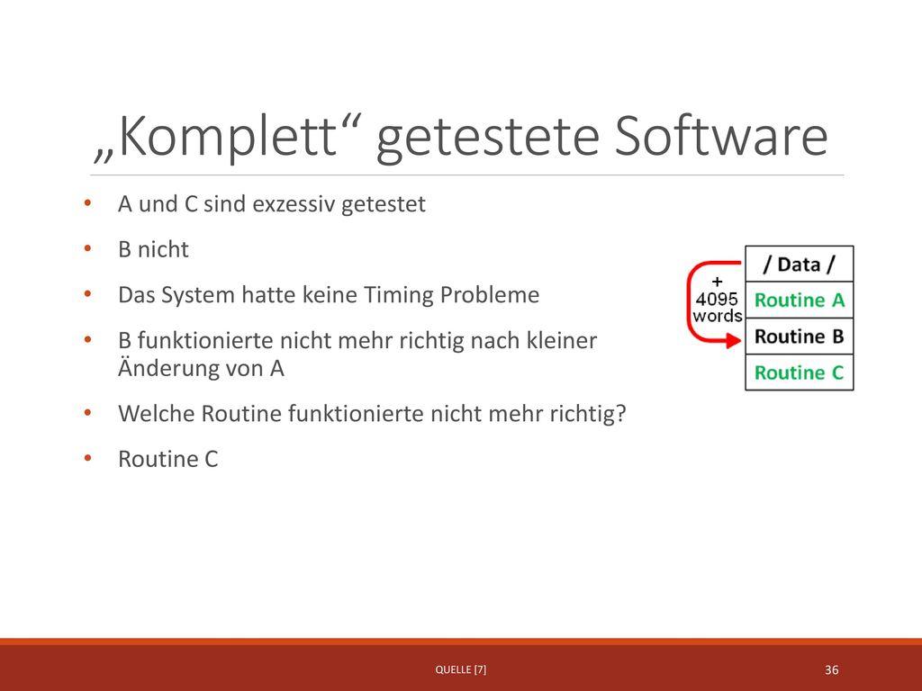 """Komplett getestete Software"