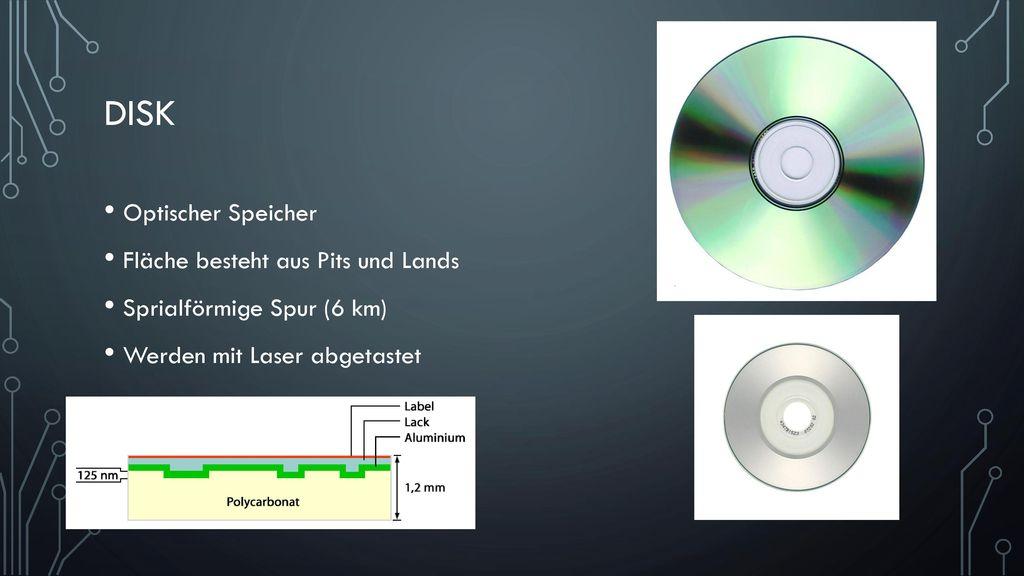 Disk Optischer Speicher Fläche besteht aus Pits und Lands