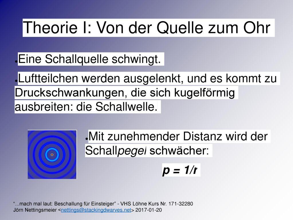 Theorie I: Von der Quelle zum Ohr