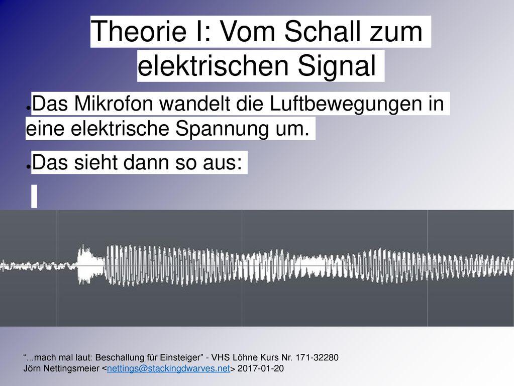 Theorie I: Vom Schall zum elektrischen Signal