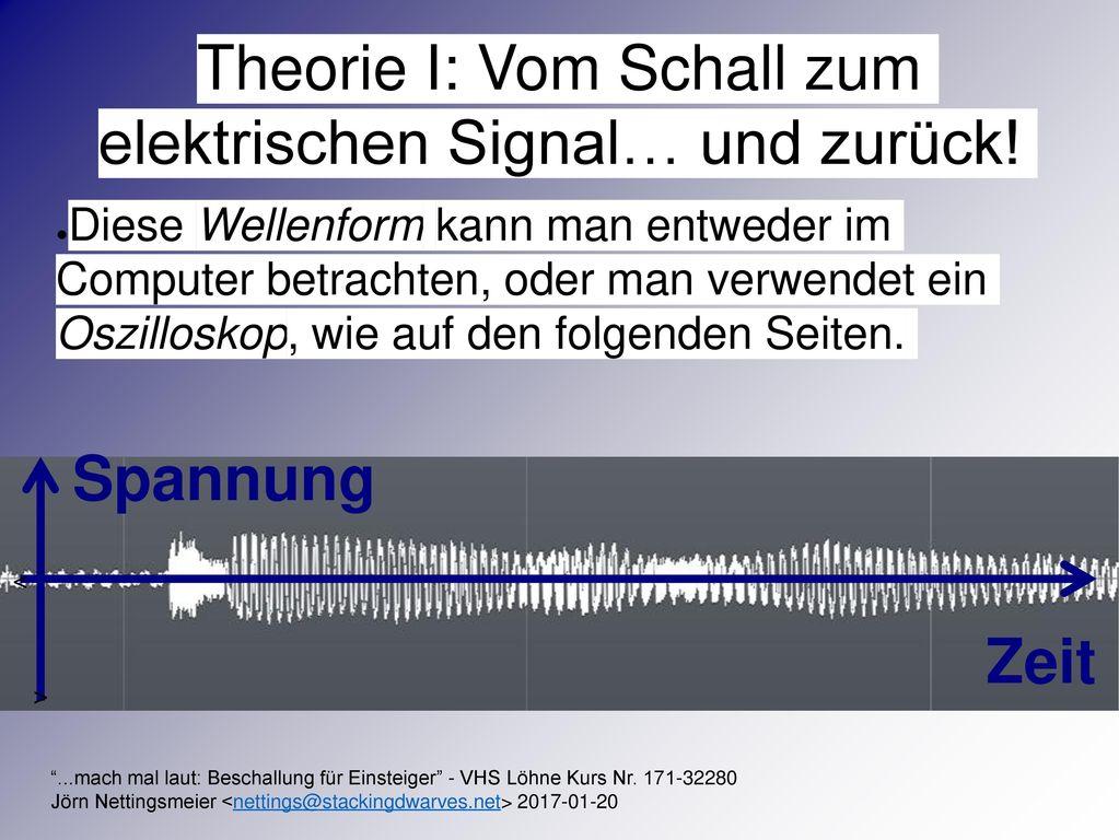Theorie I: Vom Schall zum elektrischen Signal… und zurück!