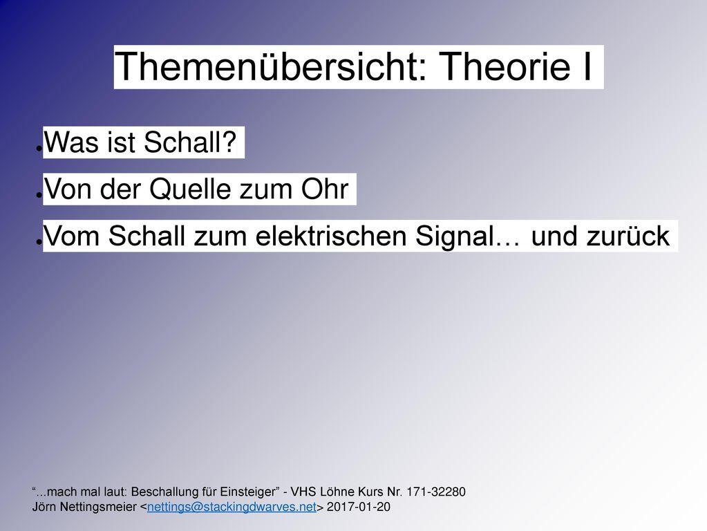 Themenübersicht: Theorie I
