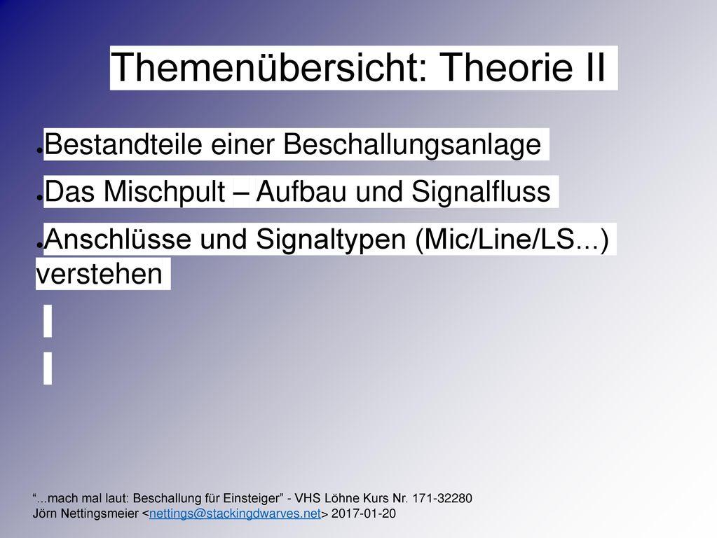Themenübersicht: Theorie II
