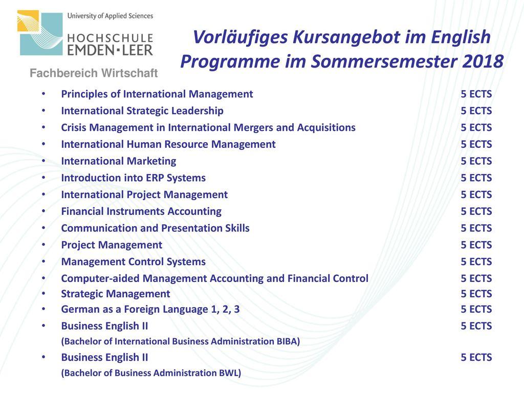 Vorläufiges Kursangebot im English Programme im Sommersemester 2018
