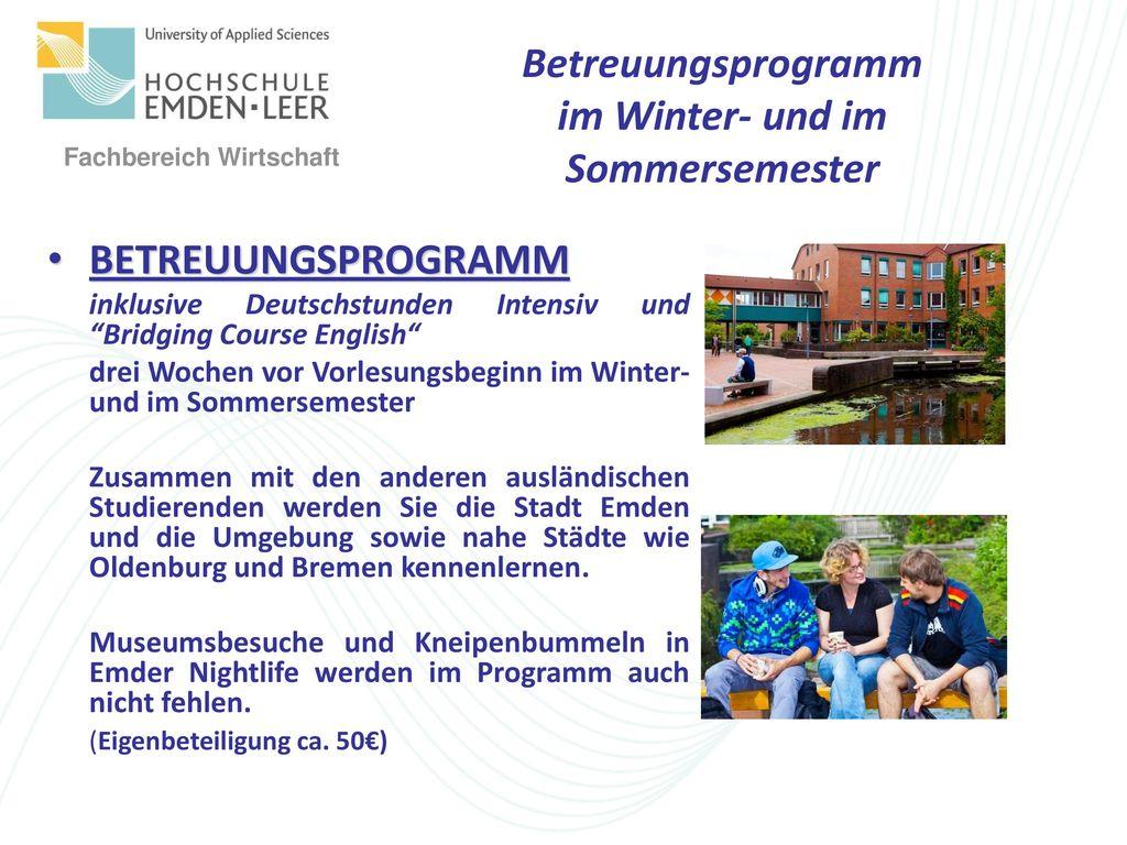 Betreuungsprogramm im Winter- und im Sommersemester