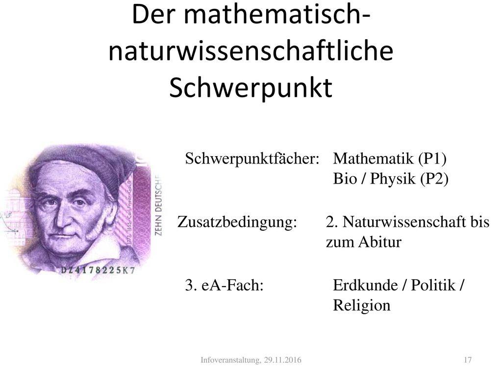 Der mathematisch-naturwissenschaftliche Schwerpunkt