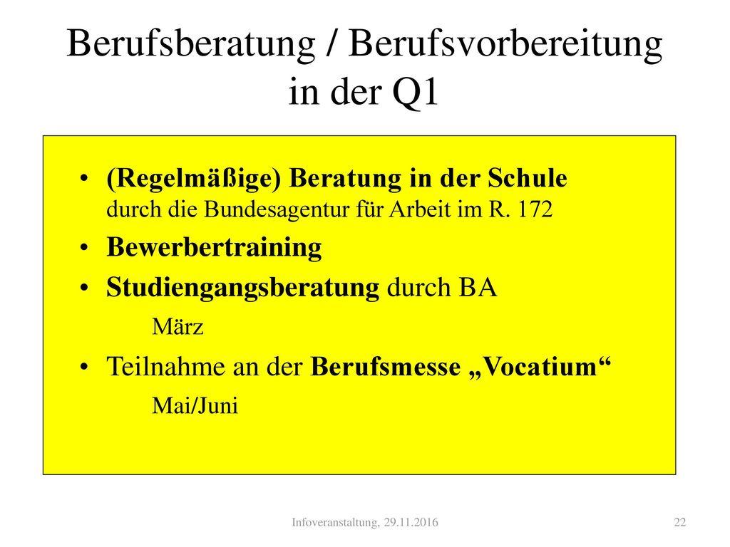 Berufsberatung / Berufsvorbereitung in der Q1