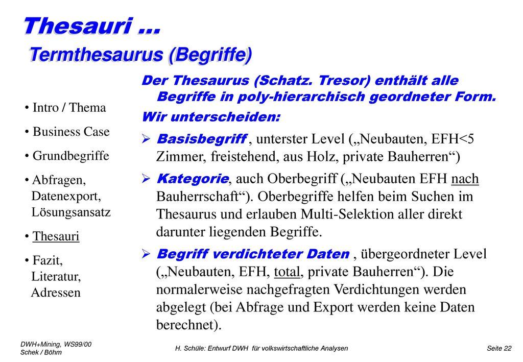 Thesauri ... Termthesaurus (Begriffe)