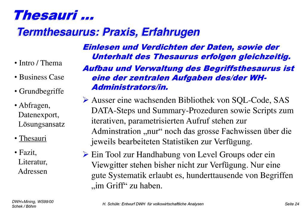 Thesauri ... Termthesaurus: Praxis, Erfahrugen