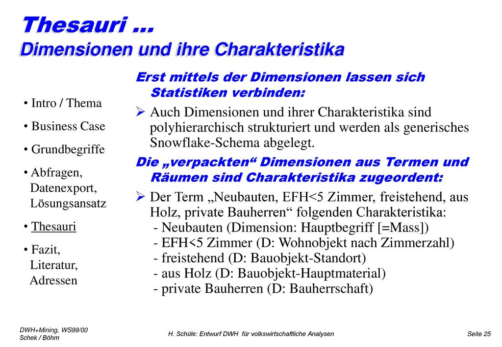 Thesauri ... Dimensionen und ihre Charakteristika