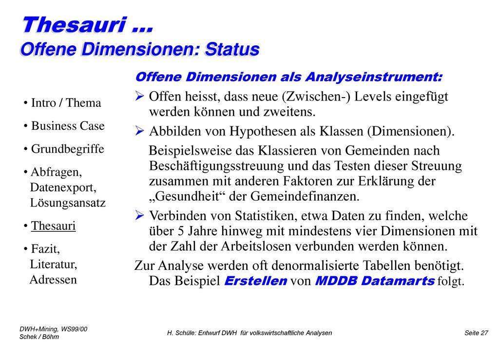 Thesauri ... Offene Dimensionen: Status