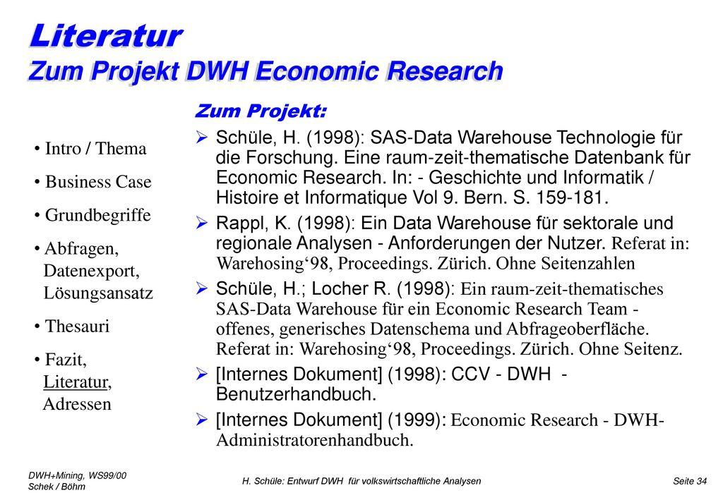Literatur Zum Projekt DWH Economic Research