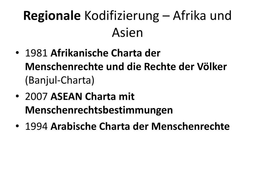 Regionale Kodifizierung – Afrika und Asien