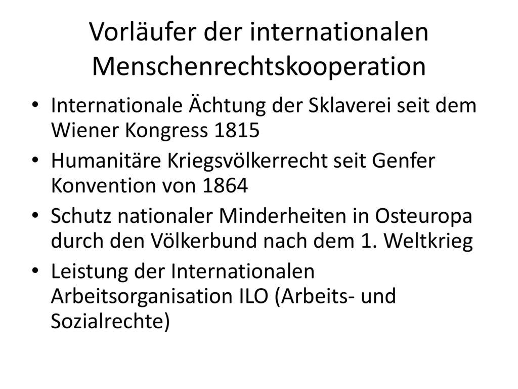 Vorläufer der internationalen Menschenrechtskooperation