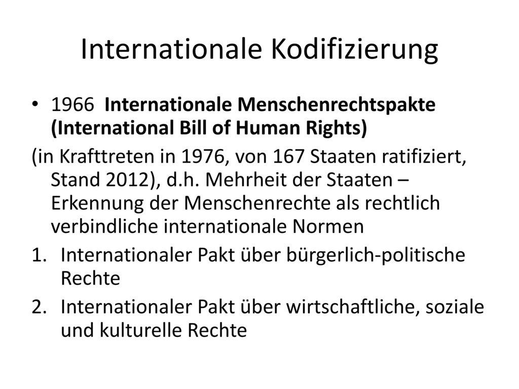 Internationale Kodifizierung