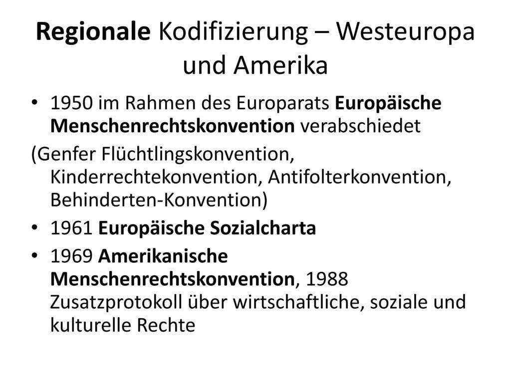 Regionale Kodifizierung – Westeuropa und Amerika
