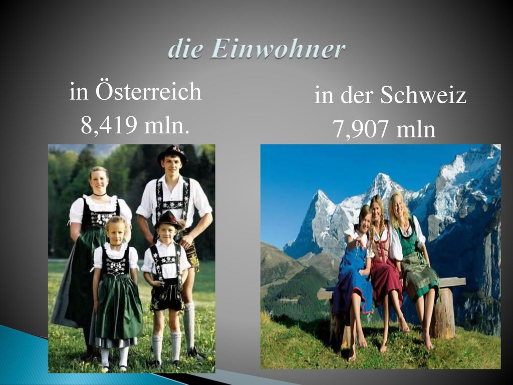 die Einwohner in Österreich 8,419 mln. in der Schweiz 7,907 mln