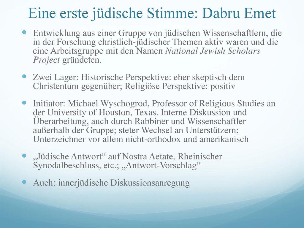 Eine erste jüdische Stimme: Dabru Emet