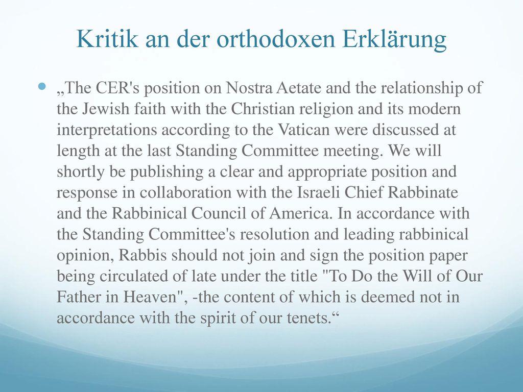 Kritik an der orthodoxen Erklärung