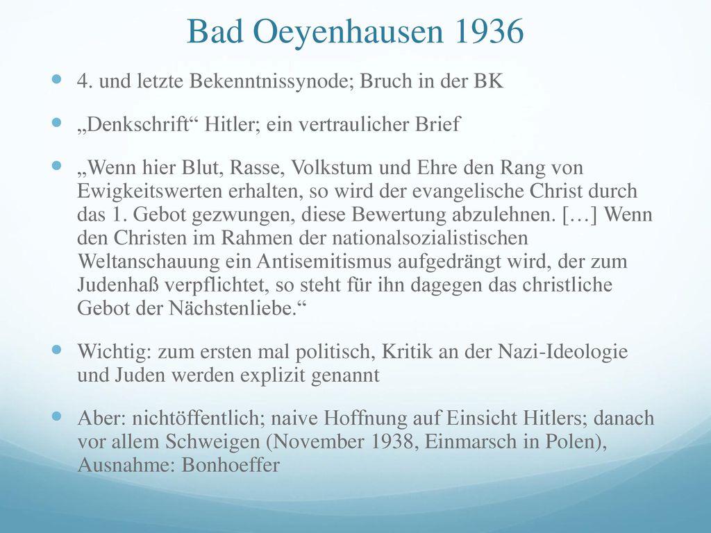 Bad Oeyenhausen 1936 4. und letzte Bekenntnissynode; Bruch in der BK